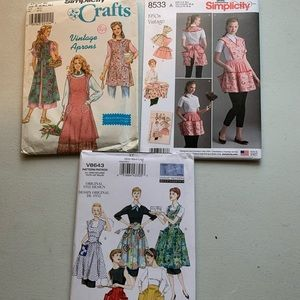 Lot of 3 Vintage Style Apron Patterns | All Sizes